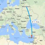 Время полета Минск
